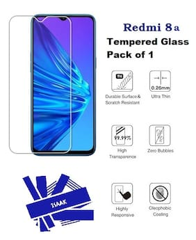 Isaak Redmi 8A Full Coverage Tempered Glass (Pack Of 1)