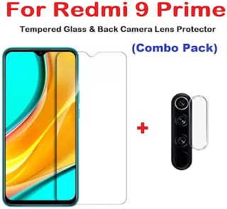 ISAAK Redmi 9 prime Tempered Glass & Back Camera Lens Protector (COMBO PACK)