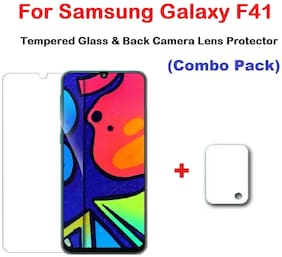 ISAAK Samsung Galaxy F41 Tempered Glass & Back Camera Lens Protector (COMBO PACK)