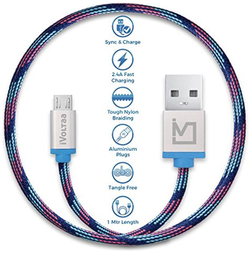 iVoltaa Pixie Micro USB to USB Premium Nylon Braided 1 m  3.3 ft  Cable   With Quick Charging  2.4 Amp  and High Speed Data Sync  Kyber Blue