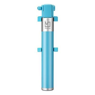 iVoltaa ProGen Compact Aluminium Selfie Stick Wired for iPhone and Android (Blue)