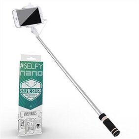 iVoltaa SELFY Nano Selfie Stick for iPhone and Android (Silver)