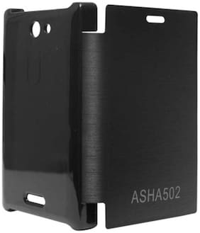 Iway Flip Cover For Nokia Asha 502 (Black)