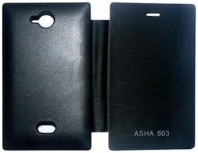 Iway Flip Cover For Nokia Asha 503 (Black)