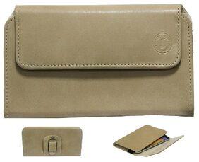 J CoverA4 Nillofer Belt Case Mobile Leather Carry Pouch Holder Cover Clip For Motorola Moto Z Play Beige