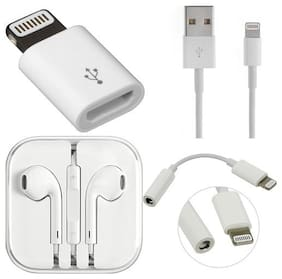 Jindal Creations Combo Pack of Data Cable for Iphone, Micro USB 8 Pin Adapter, 3.5 Audio Jack Headphone Adapter with Earphone Free