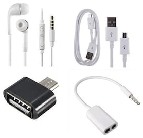 Jindal Creations Combo Pack of V8 USB Data Cable, OTG Adapter, Aux Splitter with Earphone free