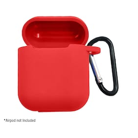 JMO27Deals Silicone Shock Proof Protection Sleeve Skin Carrying Box with Hook for Airpods (Airpod Not Include)(Red)