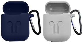 JMO27Deals Silicone Back Cover For Apple AirPods ( Blue & Grey )