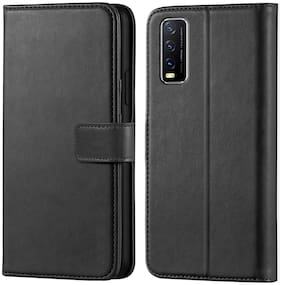 Vivo Y20A Leather Flip Cover By JOTECH ( Black )