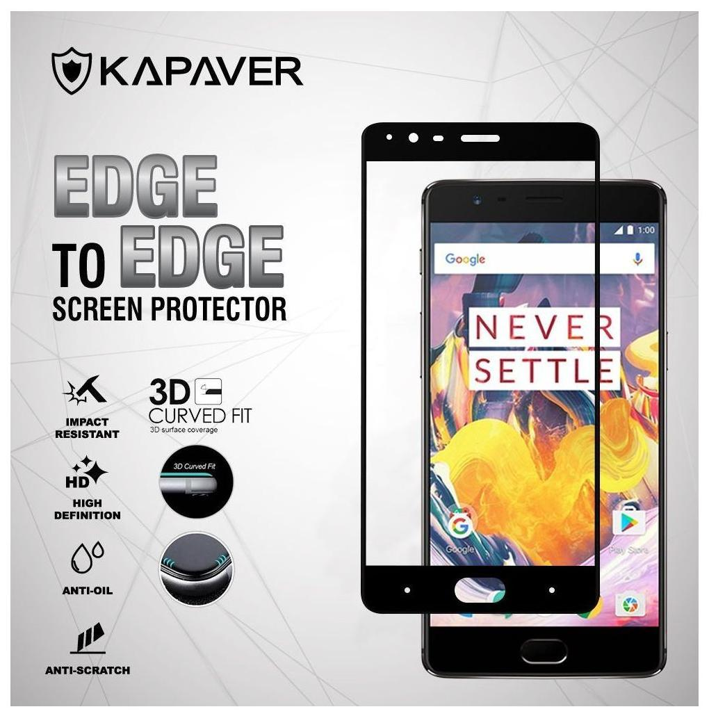 Kapaver OnePlus 3 / OnePlus 3T Curved Edge 3D Full Cover Tempered Glass Screen Potector By   One Plus 3 / One Plus 3T    3D Tempered Glass