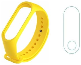 KHR Combo (Band straps + screen Guard) for Mi Band 3 Silicon Band Scratch Rasistant (Pack of 2)