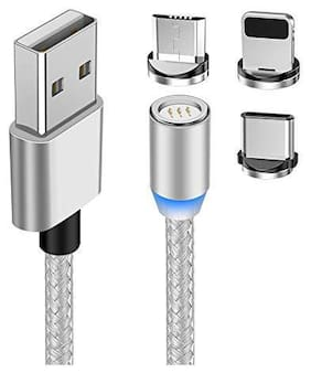 Kirru Magnetic Charging 3 in 1 (Lightning & Micro USB & Type-C) Cable ( 1 m , Silver )