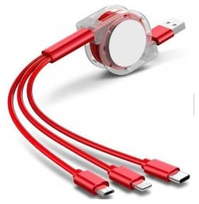 KLICK STAR Charging Only 2 in 1 (Lightning & Micro USB) , 2 in 1 (Lightning & Type-C) Cable ( 1 m , Red )