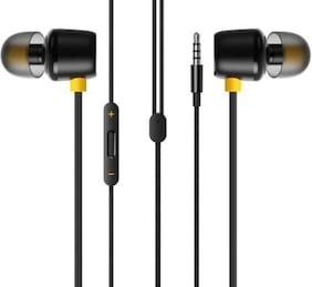 KONARRK Real Buds In-Ear Wired Headphone ( Black & Yellow )