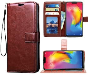 Leather Flip Wallet Case with TPU Shockproof Cover Classic Brown, Vivo U20 / Vivo Y19)