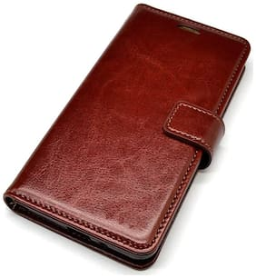 OPPO F9 Leather Flip Cover By Gohaps ( Brown )