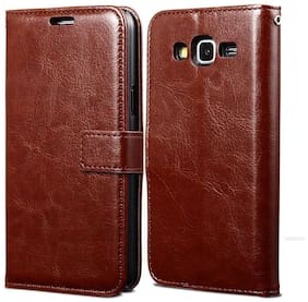 Cellshop Faux Leather Flip Cover For Samsung Galaxy J7 Nxt ( Brown )