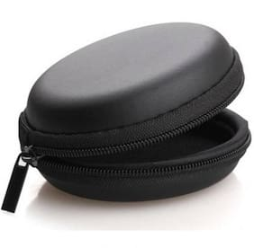 Leather Zipper Headphone Pouch (Black)