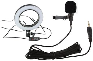 LED Ring Light with Collar Mic 3.5mm Clip Microphone for Live Streaming & Tik Tok,YouTube Video, Dimmable Desk Makeup Ring Light for Photography