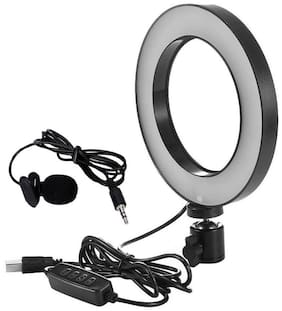 LED Selfie Ring Light Video Shooting with 3 Light Modes Brightness Level Bi-Colour Premium LED Makeup Lighting With 3.5 mm Clip Collar Mike