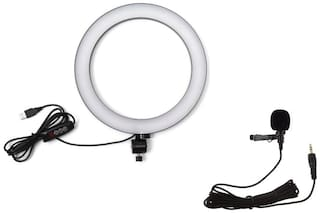 LED Selfie Ring Light with Metal Clip Collar 3.5Mm Jack Microphone for Making up & Tiktok YouTube Videos Photography