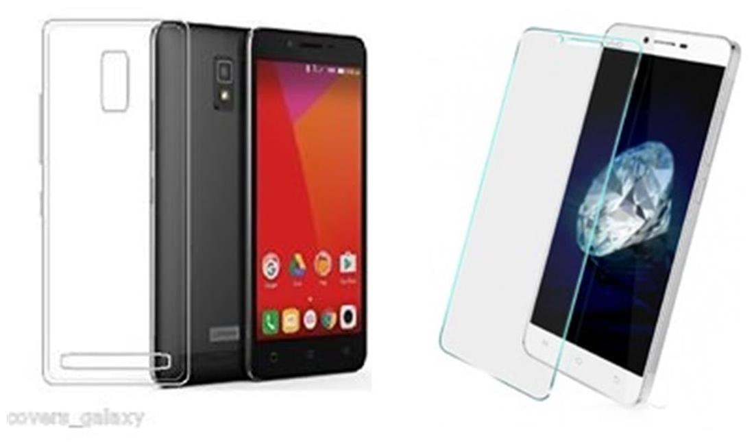 buy online 284b5 1e829 Lenovo A6600 Plus Transparent back cover with tempered glass (0.33mm 2.5 D  Curved tempered glass)(crystal clear soft back cover )