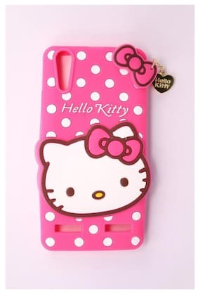 Lenovo Vibe K5 Girl's Back Cover Hello Kitty Silicon With Pendant - Pink