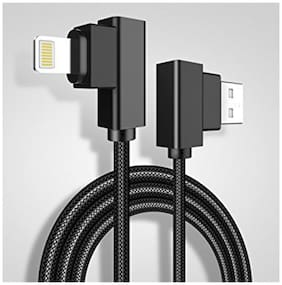Lightning Dual-end L-shaped Charging Cable  Nylon Braided Lightning USB Data Recharge Cable 2.1A Quick Charge Cord for iOS 1.2 MT (ASSORTED COLOUR)