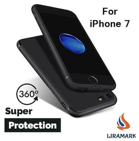 For Apple iPhone 7 LIRAMARK Soft Silicone with Anti Dust Plugs Shockproof Slim Back Cover Case - Black