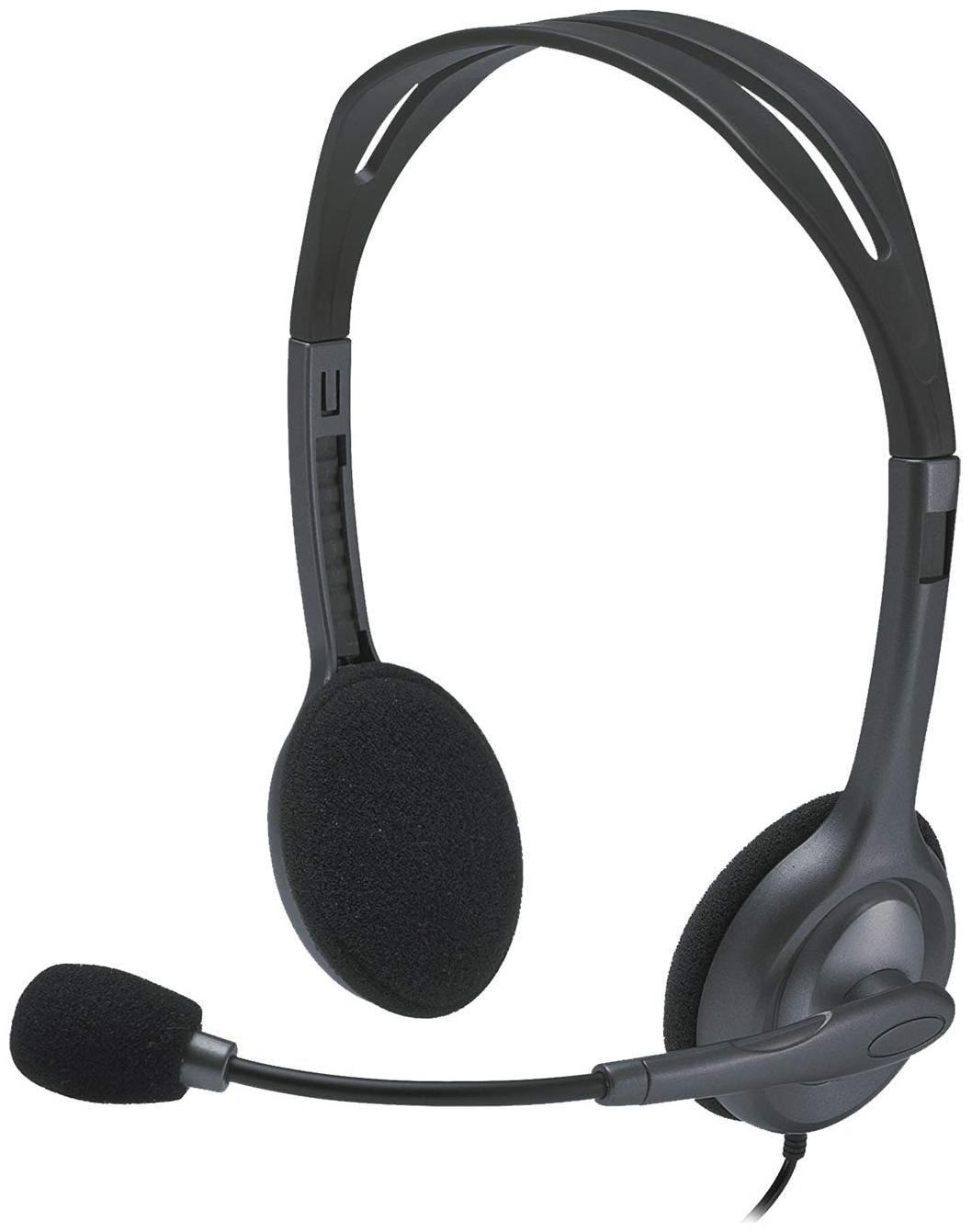 Logitech H111 Over Ear Wired Headphone   Black