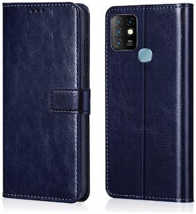 Infinix Hot 10 Fabric Flip Cover By Loopee ( Blue )
