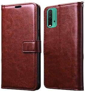 Redmi 9 Power Faux Leather Flip Cover By Loopee ( Brown )
