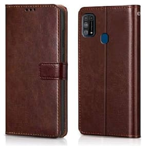 Samsung Galaxy M31 Leather Flip Cover By Loopee ( Brown )