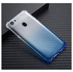 LOXXO Back Cover for Oppo F5 Silicone Skin Gradient Case Cover for Oppo F5 (Silver & Blue)