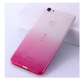 LOXXO Back Cover for Vivo V7 Plus Silicone Skin Flexible Gradient Case Cover for Vivo V7 Plus (Pink)