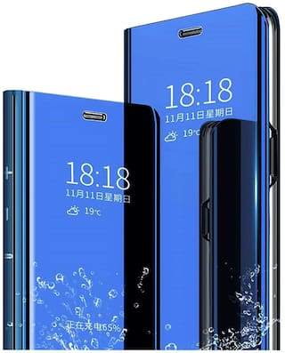 EXOTIC FLOURISH Glass & Leather Armor Case & Back Cover For Redmi Note 8 Pro ( Blue )