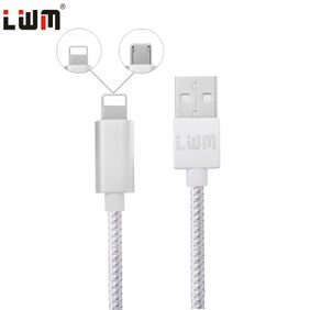 LWM 2 in 1 Universal 8 Pin Micro USB Connector Fast Charging Data Transfer Nylon Braided Cable 1M