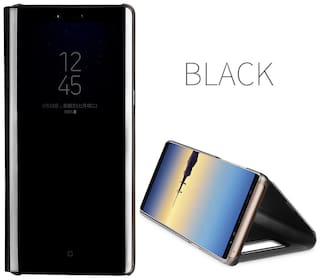 new product 26301 0bbff Maggzoo Black Mirror Smart Case Clear View S-View Flip Flap Back Kick Stand  Cover For Samsung Galaxy A6 2018