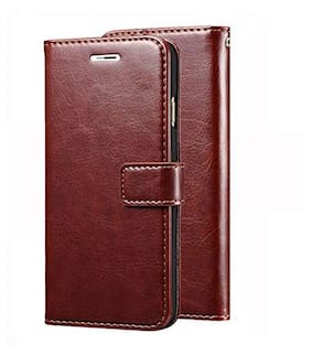 Maggzoo Brown Flip Cover Dairy Book Vintage Wallet Card Holder Slot Back Stand Artificial PU Leather Maganetic Lock For Oppo F5 Youth