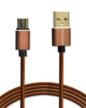 Marley Hudson 3FT USB Android Cable Nylon Braided Data Sync Fast Charging Cord Cable Compatible with any Android Supported Devices - Caramel Brown
