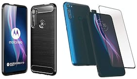 Mascot Max back cover Hybrid shock proof back cover with 9H 2.5d tempred glass Black for Motorola Moto One fusion plus