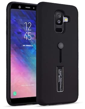Mascot max Back Cover TPU + Pc Dual Layer with Stand & Finger Holder Personality Back Case Cover For Samsung Galaxy J8 /A6plus (black)