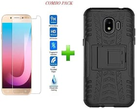 Mascot max back cver defender case black with tempered glass  for samsung galaxy J2 2018