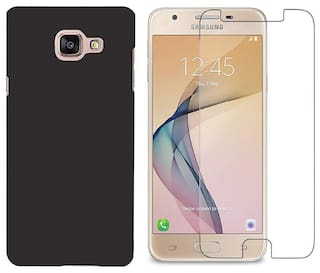 Mascot max back cover black with tempered glass for Samsung galaxy On7prime
