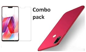 Mascot Max (Combo pack) back cover Red Premium quality case with tempered glass 0.33m 2.5D glass for Vivo X21