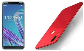 Mascot max  Combo pack Red Back cover  with tempered glass 0.3mm 2.5D Glass for Ausu Zenfone max pro M1