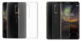 Mascot max transparent back cover with tempered glass  for Nokia 6.1 (2018)