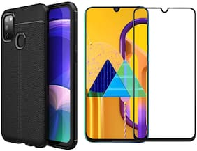 Mascot Max Tempered glass Edge to Edge cover balck 9H balck glass with back cover black Autofocus Grip cover for Samsung Galaxy M30s