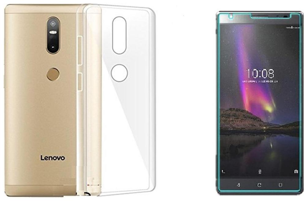 Mascot max Transparent back cover with tempered glass for Lenovo Phab2 plus